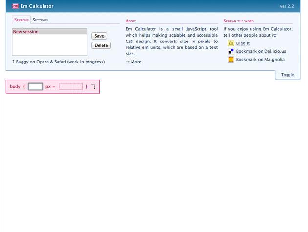 EM Calculator   Best Web Design Tools
