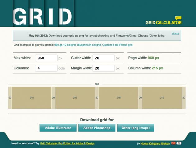 Grid Calculator Best Web Design Tools